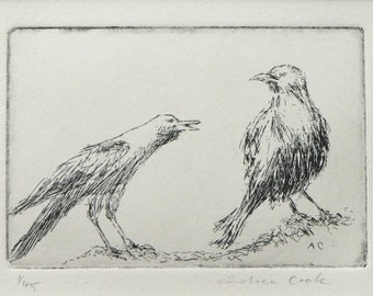 original etching of crows