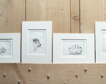 4 original cat etchings set