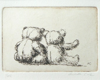 original etching of two teddy bears cuddling