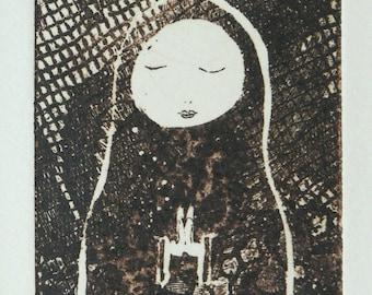 original etching - in meditation and prayer