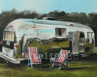 giclee art print of a caravan - airstream trailer