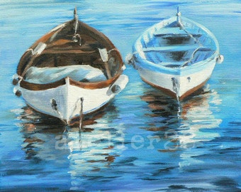 giclee art print of 2 rowboats