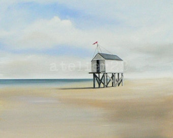 giclee print of a beach house