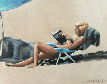 lady reading a book on the beach: 'long story', giclee art print