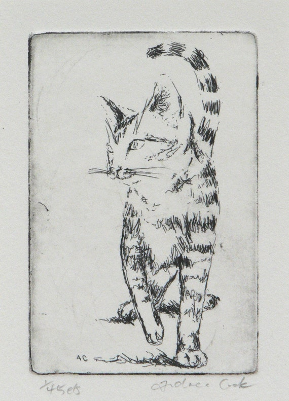 original etching of a cat walking