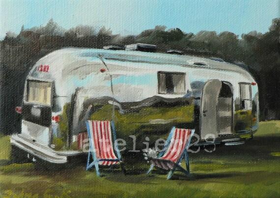 giclee art print of a caravan - airstream trailer