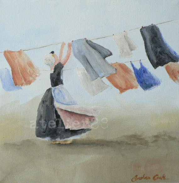 giclee print of a lady hanging the washing up