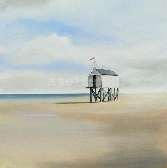 giclee print of a beach house