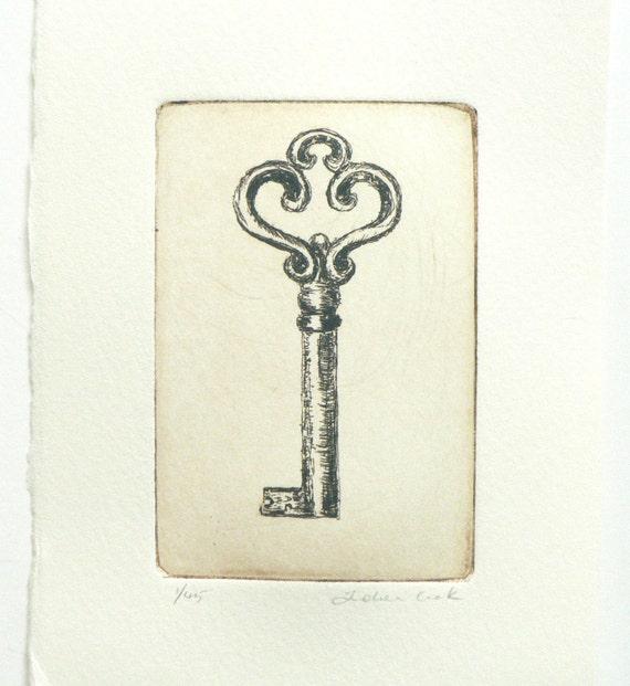 original etching of a key