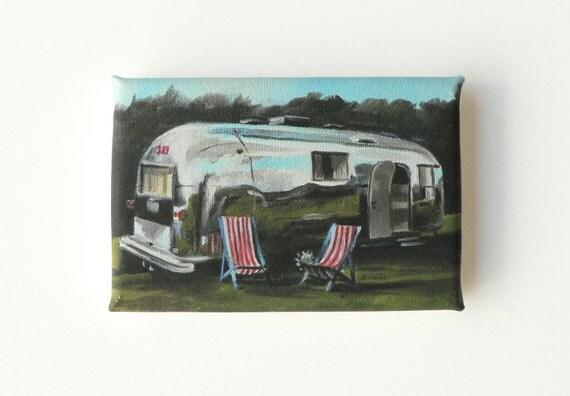 mini canvas print of a caravan - airstream trailer