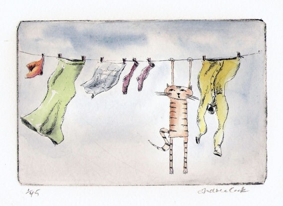 original cat etching and watercolor - hanging out to dry