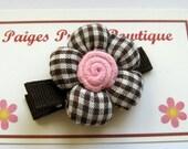 Brown/White Gingham Cotton Flower Clip-Toddler Hair Clip-Alligator Clip