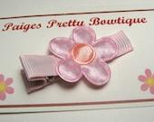 "1"" Light Pink/Peach Satin Flower Clip-Toddler Hair Clip-Baby Hair Clip-Alligator Clip"