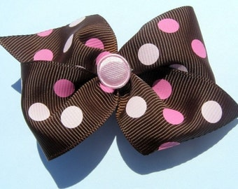 Basic Brown/Pink Polka Dot Hair Bow-Baby Hair Bow-Toddler Hair Bow-Child Hair Bow