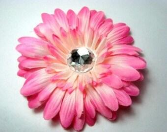 """CLOSEOUT-4"""" Light Pink Gerbera Daisy Clip-Hair Flower-Alligator Clip"""