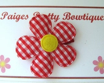 """1.5""""  Red/White Gingham Flower Snap Clip-Baby Hair Clip-Toddler Hair Clip-Fine Hair Clip"""