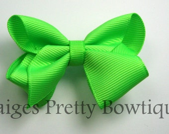 """2.5"""" Lime Green Boutique Hair Bow"""