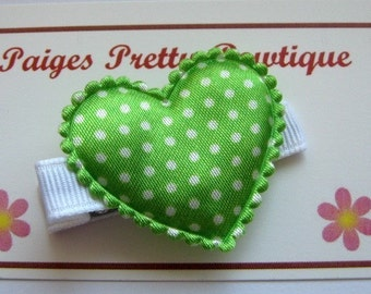 "1.75"" Green/White Polka Dot Heart Clip-Alligator Clip-Toddler Hair Clip"
