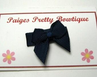 Navy Blue Itty Bitty Bow Snap Clip-Baby Hair Bow-Infant Hair Bow-Fine Hair Clip