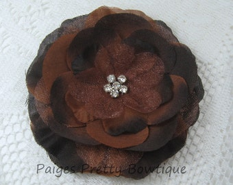 """CLOSEOUT-3.25"""" Brown Organza Jeweled Flower Clip-Flower Hair Clip"""