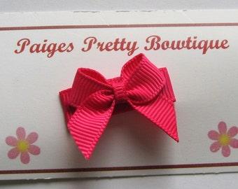 Hot Pink Itty Bitty Bow Snap Clip-Baby Hair Clip-Toddler Hair Clip-Fine Hair Clip