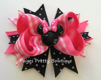 "3.5"" Pink, White & Black Minnie Bow-Minnie Mouse Bow-Photo Prop"