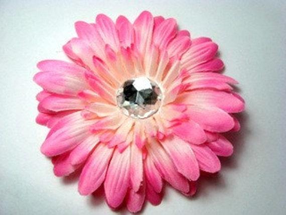 "4"" Light Pink Gerbera Daisy Clip-Hair Flower-Alligator Clip"