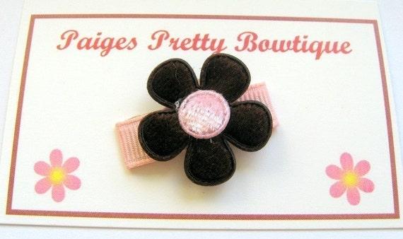 Itty Bitty Brown/Pink Velvet Flower Clip-Baby Hair Clip-Fine Hair Clip-Snap Clip