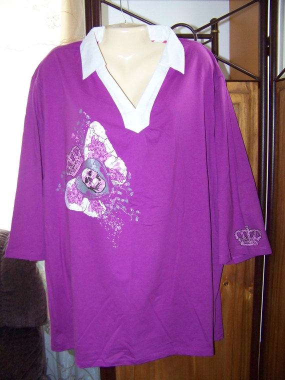 5X 3/4 Sleeve Purple and White Colar V Neck Crowned Skull and Wings And Crown Sleeve