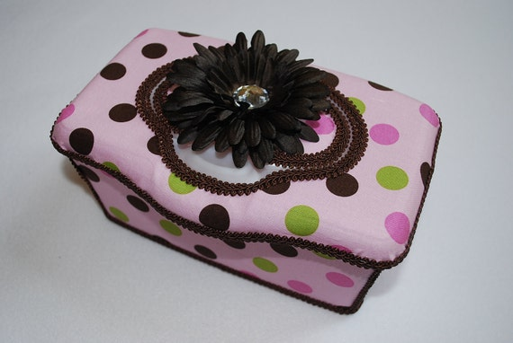 Boutique Flip Top Baby Wipe Tub - Pink Multi-Dot