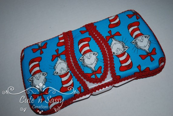 Flip Top Baby Wipe Case - Dr Seuss Cat in the Hat Covered Wipes Case