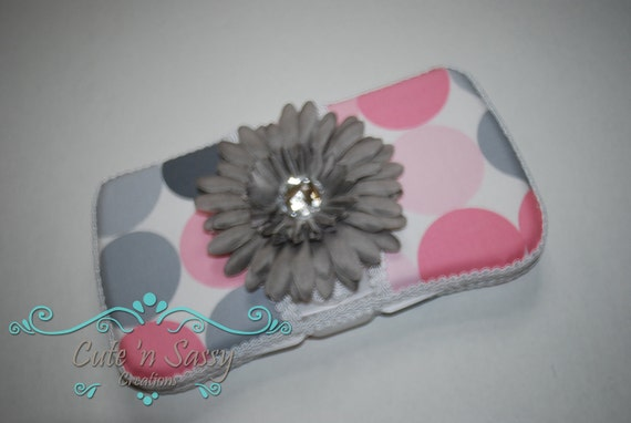 Flip Top Baby Wipe Case - Pink and Gray Disco Dot Covered Wipes Case