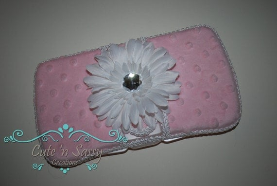 Flip Top Baby Wipe Case - Pink Minky Covered Wipes Case