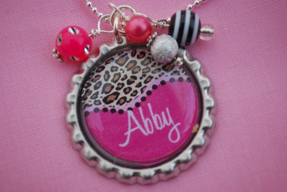 Girls Personalized Necklace Bottlecap Pendant Necklace - Cheetah and Hot Pink