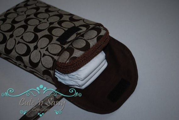 Baby Wipe Case and Diaper Pouch Gift Set - Tan Coach Inspired