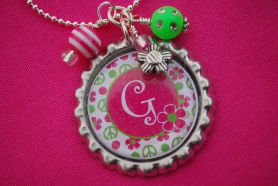 Bottlecap Pendant Necklace with Initial - Hot Pink and Lime Peace