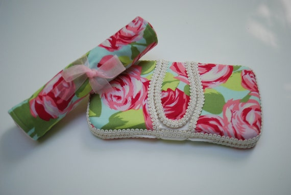 SALE - Boutique Baby Wipe Case and Minky Burpie Gift Set - Love Tumble Roses