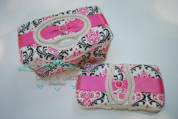 2 Pc Boutique Flip Top Baby Wipe Case Gift Set Madison