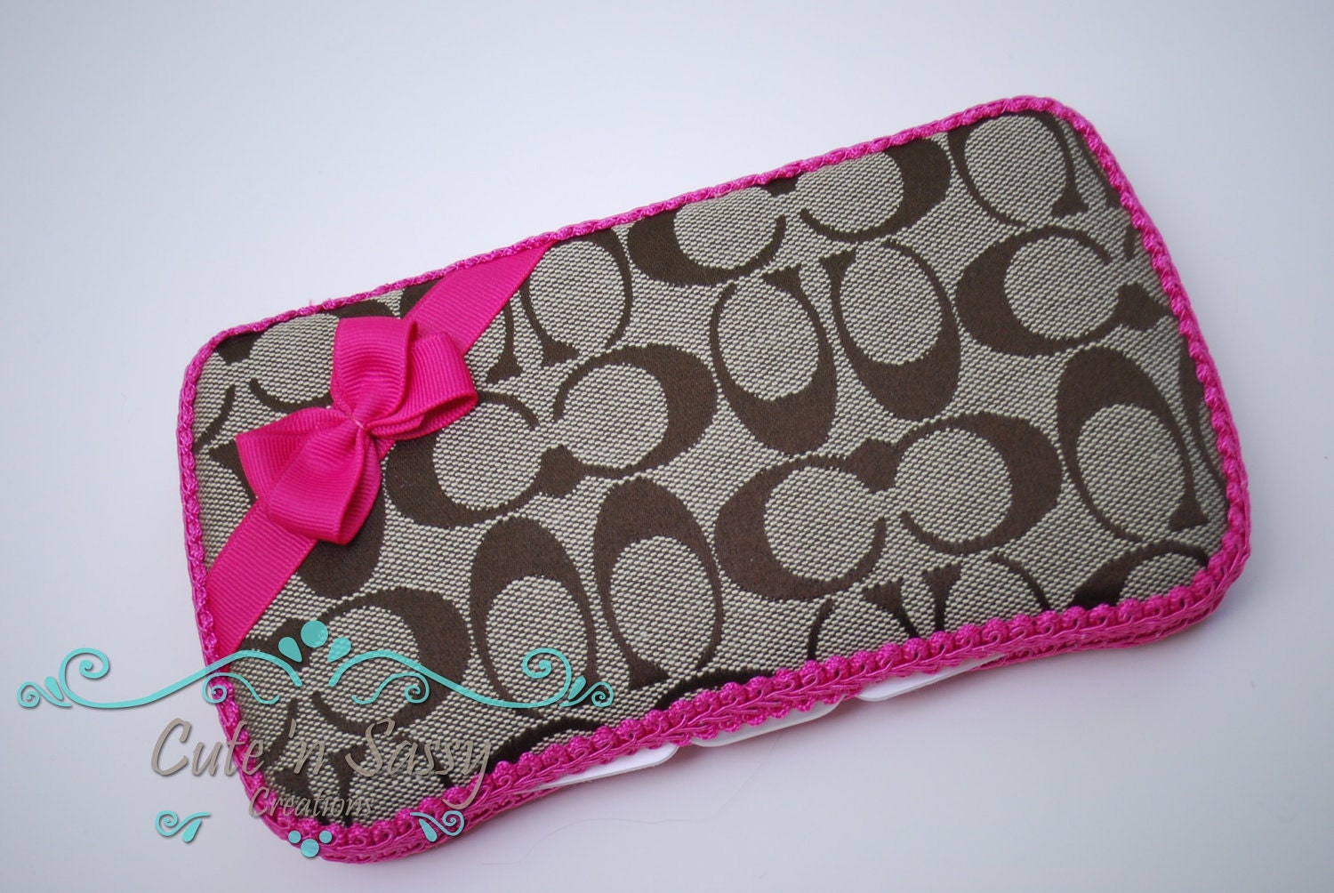 Baby wipe case tan and hot pink coach inspired covered wipes
