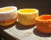 Set of 3 Cotton Crochet Nesting Bowls Yellow Orange