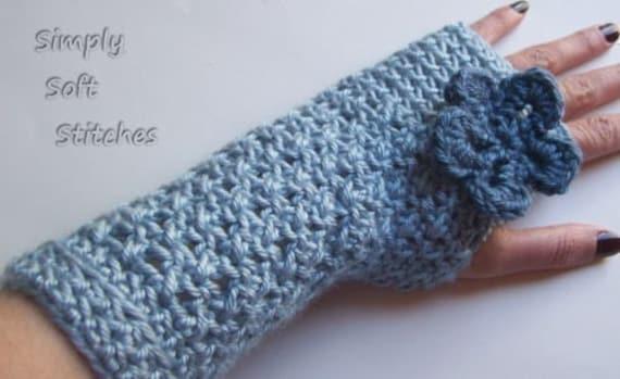 Easy Crochet Cross Stitch Fingerless Gloves with Optional Flower