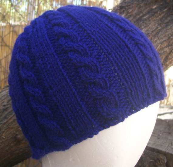 Wool Cable Knit Beanie Hyacinth