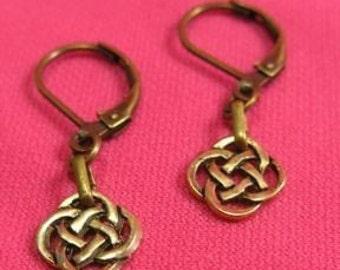 Celtic Knot Earrings - Antique Gold
