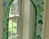 Irish Glass Mosaic Mirror with Claddagh, Shamrocks, and More