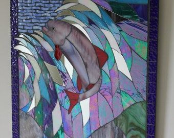 Jumping Fish, Splashing Water, Stained Glass Mosaic Panel