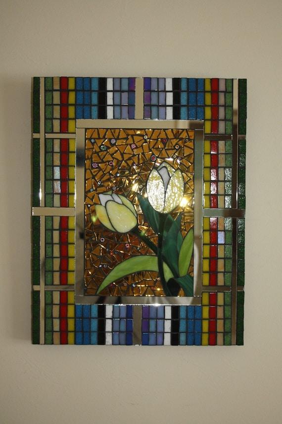 CLEARANCE SALE:  Glass Mosaic Springtime Tulips