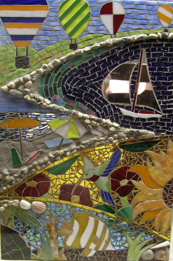 Reserved for Lowell T.:  Summer's Here...Glass Mosaic of Summer Scenes with Seashells and More