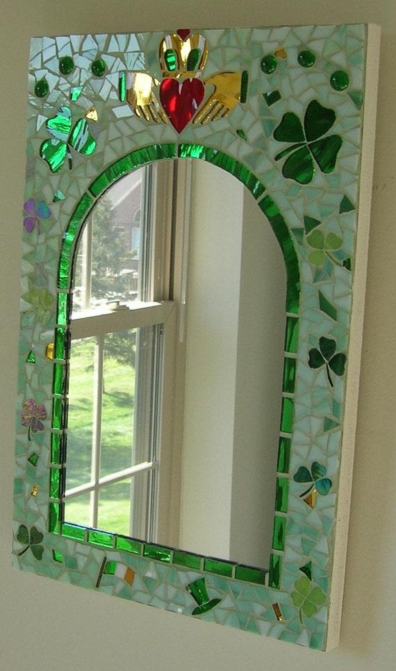 Irish Glass Mosaic Mirror With Claddagh By Glassartsstudio