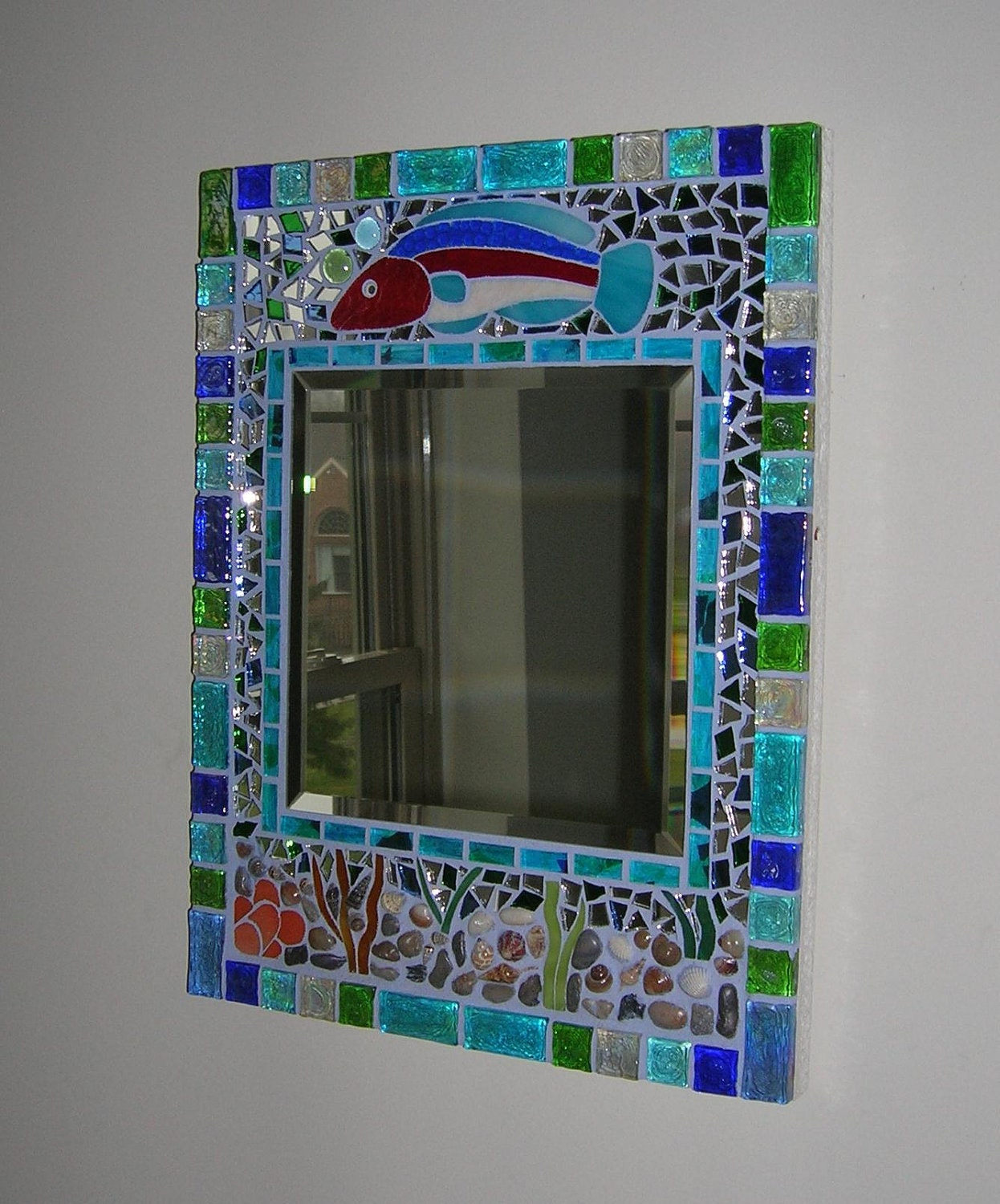 Glass Mosaic Seaside Fish And Seashell Mirror