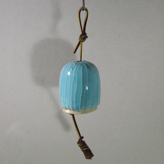 Reserved for Fryd Stoneware bell,  Turquoise